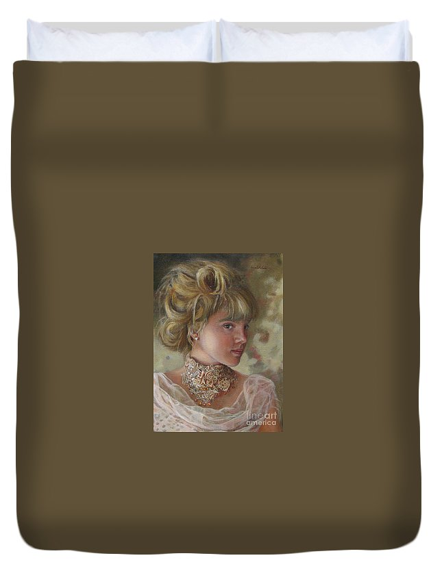 Figurative Art Duvet Cover featuring the painting Victorian Beauty by Portraits By NC