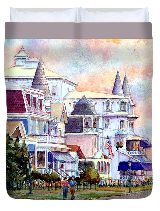 Cape May Duvet Cover featuring the painting Victorian Cape May New Jersey by Pamela Parsons