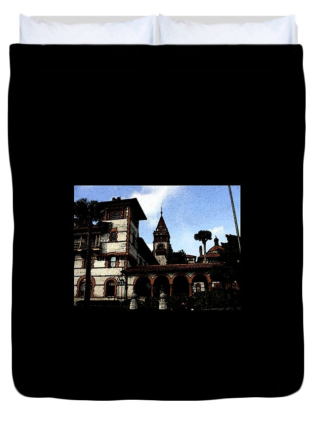 Hotel Duvet Cover featuring the mixed media Victorian Era Hotel by Shirley Heyn