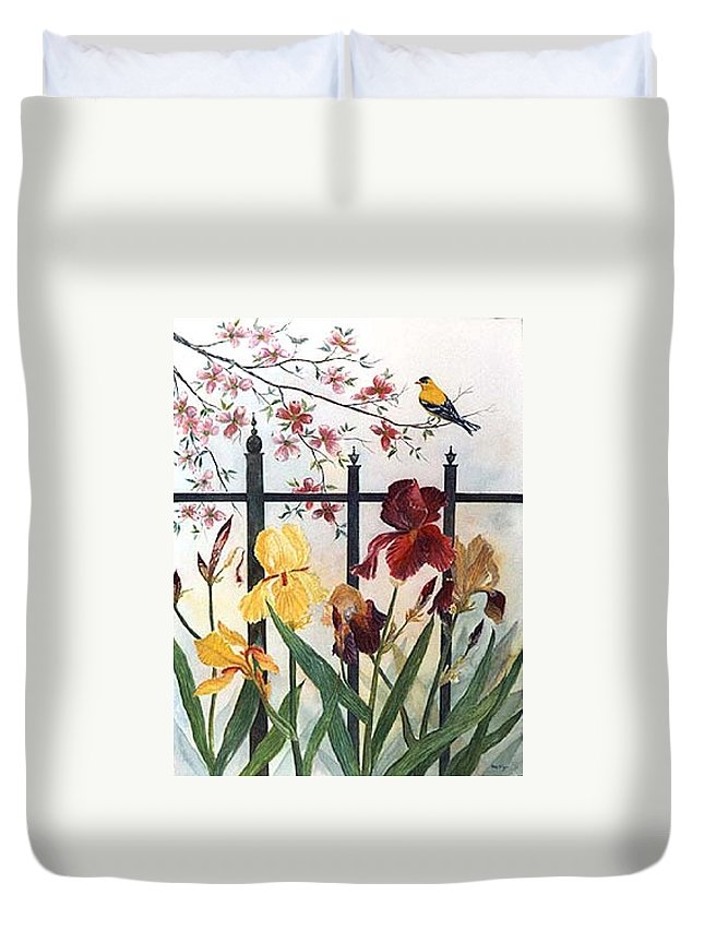 Irises; American Goldfinch; Dogwood Tree Duvet Cover featuring the painting Victorian Garden by Ben Kiger