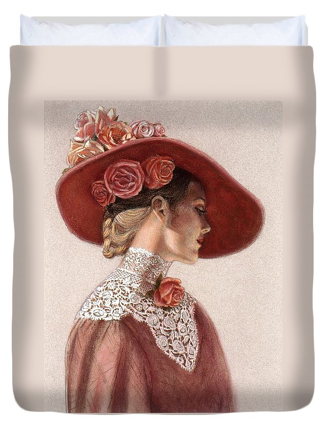 Victorian Lady Duvet Cover featuring the painting Victorian Lady in a Rose Hat by Sue Halstenberg