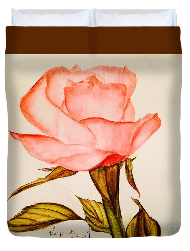Roses Duvet Cover featuring the painting Victorian Rose by Vinaya Kini