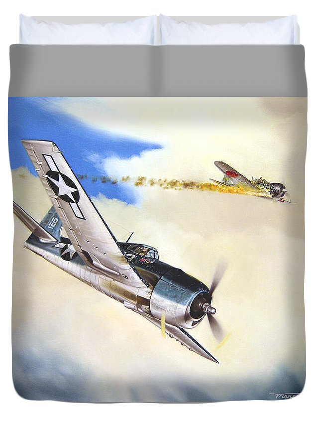 Military Duvet Cover featuring the painting Victory For Vraciu by Marc Stewart