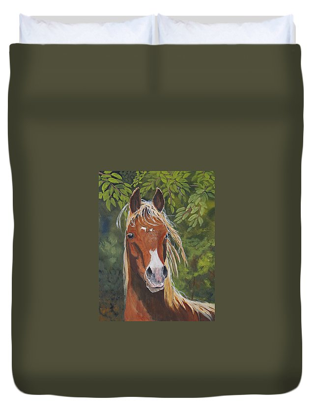 Horse Duvet Cover featuring the painting Victory by Heather Coen