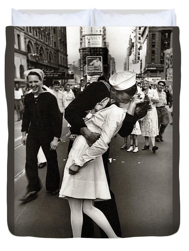 victory over japan times square kiss 1945 duvet cover for sale by