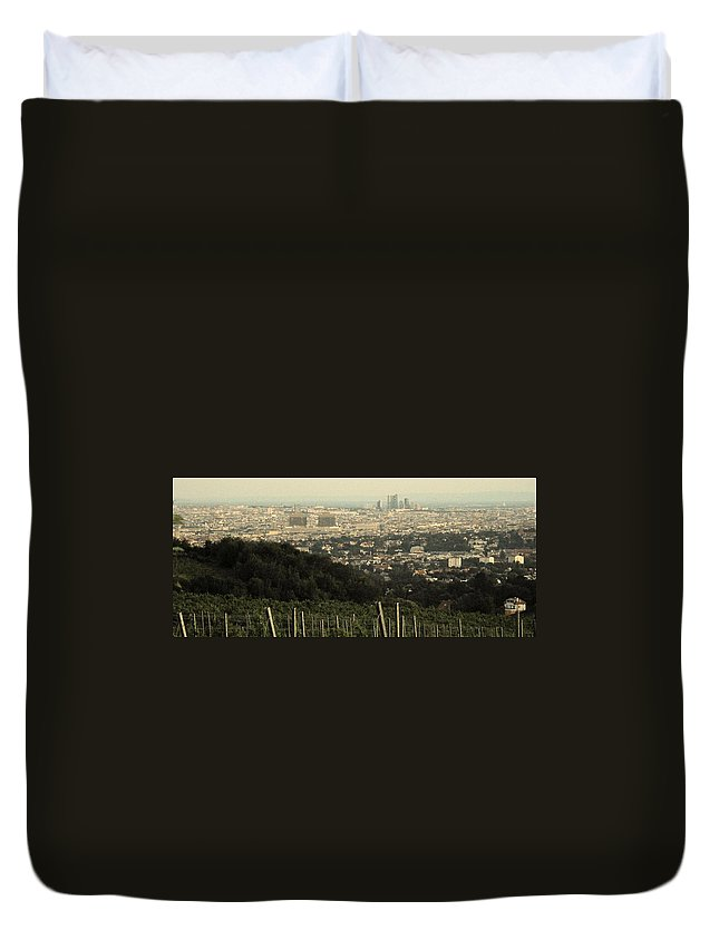 Vineyard Duvet Cover featuring the photograph Vienna From The Vineyard by Ian MacDonald