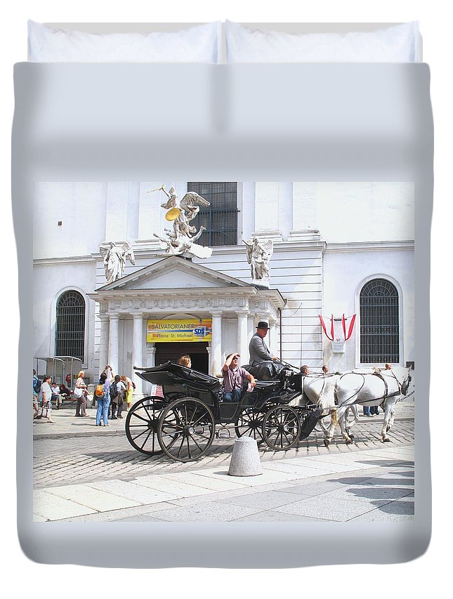Carriage Duvet Cover featuring the photograph Vienna Horse And Carriage by Ian MacDonald