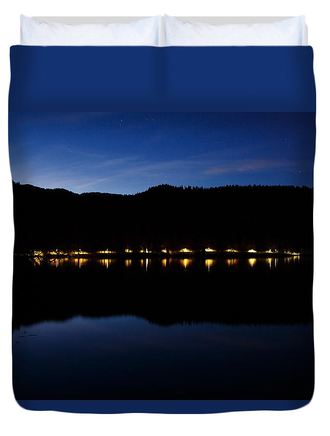 Bled Lake Duvet Cover featuring the photograph View Across Lake Bled At Night by Ian Middleton