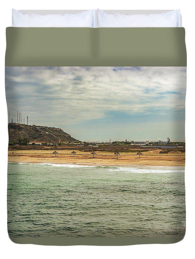 Beach Duvet Cover featuring the photograph View At La Loberia Beach In Salinas, Ecuador by Marek Poplawski