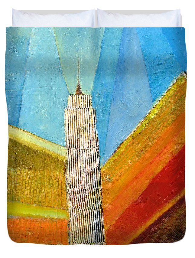 Abstract Cityscape Duvet Cover featuring the painting View From 34th St by Habib Ayat
