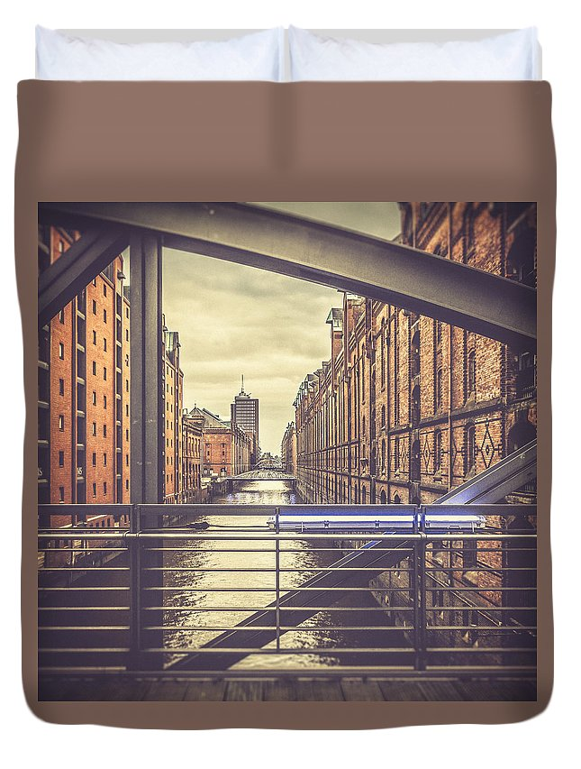 Hamburg Duvet Cover featuring the photograph View From A Bridge by Berit Schurse