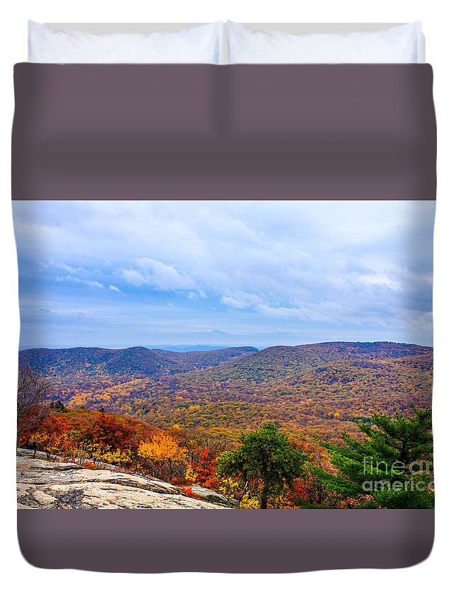 Bear Mountain Duvet Cover featuring the photograph View From Bear Mountain by William Rogers