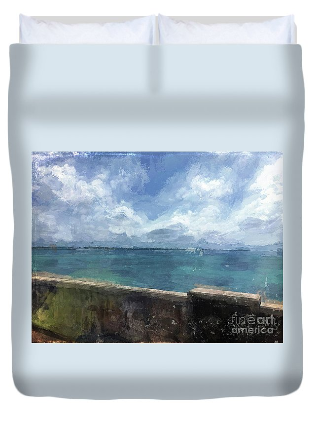 Luther Fine Art Duvet Cover featuring the photograph View From Bermuda Naval Fort by Luther Fine Art