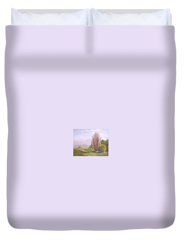 Landscape Duvet Cover featuring the painting View From Casa Galleria by Jeanie Watson
