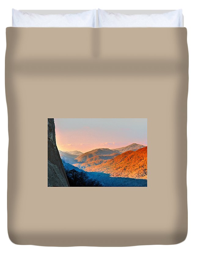 Landscape Duvet Cover featuring the mixed media View From Chimney Rock-north Carolina by Steve Karol