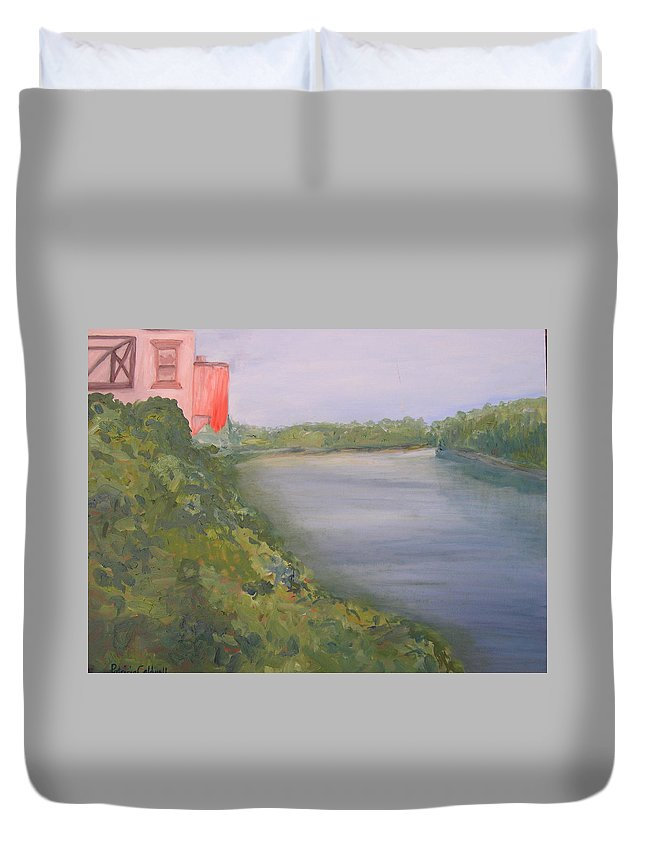 Landscape River Water Nature Duvet Cover featuring the painting View From Edmund Pettus Bridge by Patricia Caldwell