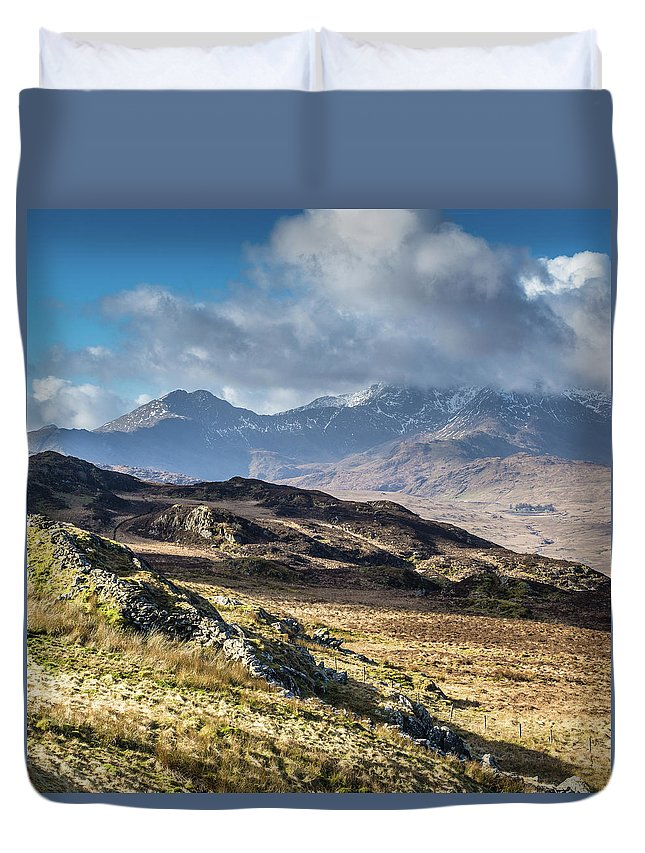Moel Siabod Duvet Cover featuring the photograph View from Moel Siabod, Snowdonia, North Wales by Anthony Lawlor