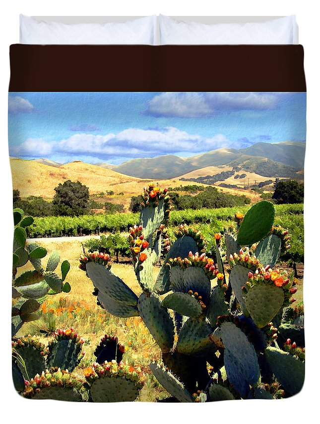 Vineyards Duvet Cover featuring the photograph View From Santa Rosa Road by Kurt Van Wagner