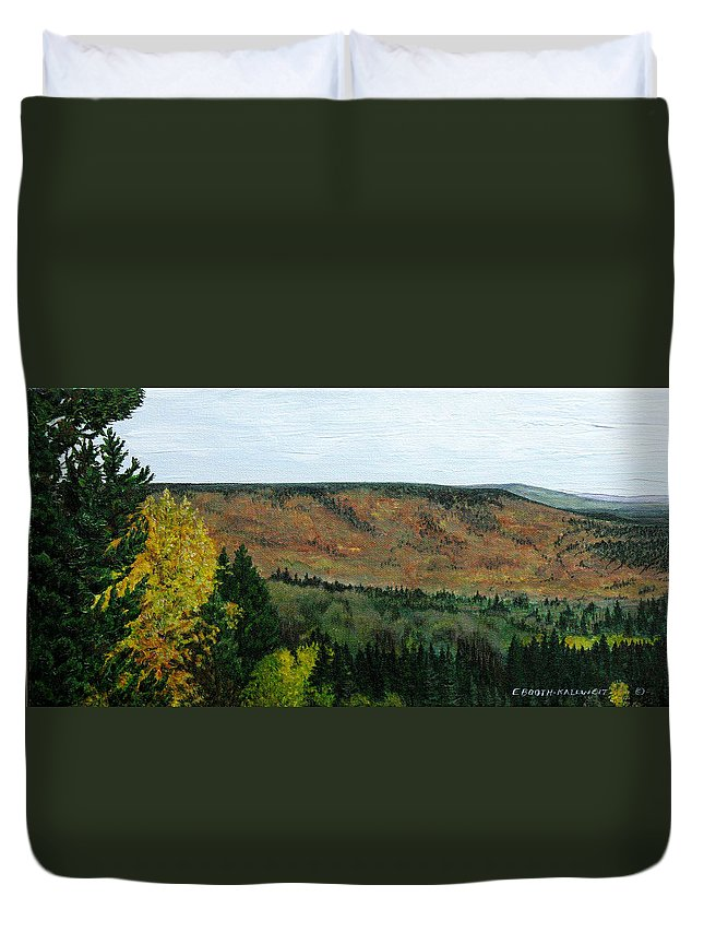 Landscape Duvet Cover featuring the painting View From Shinning Bank by Elaine Booth-Kallweit