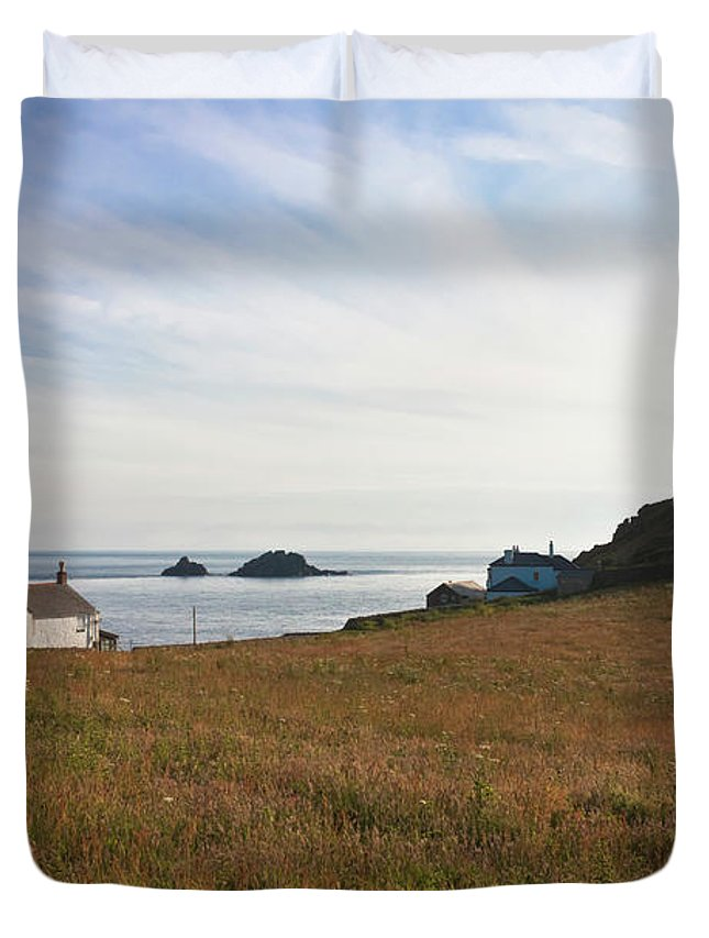 St Helen's Oratory Duvet Cover featuring the photograph View From St Helen's Oratory Cape Cornwall by Terri Waters