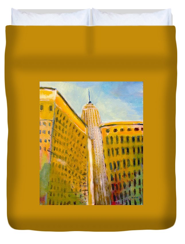 Abstract Cityscape Duvet Cover featuring the painting View From The 33 St by Habib Ayat