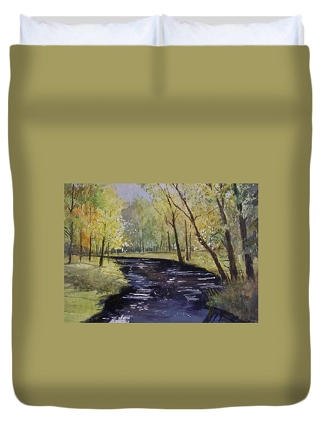 Watercolor Duvet Cover featuring the painting View From The Covered Bridge by Ryan Radke