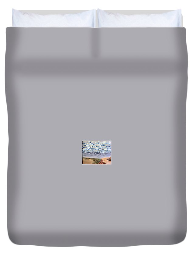 Desertscape Duvet Cover featuring the painting View From The Mesa by Marco Morales