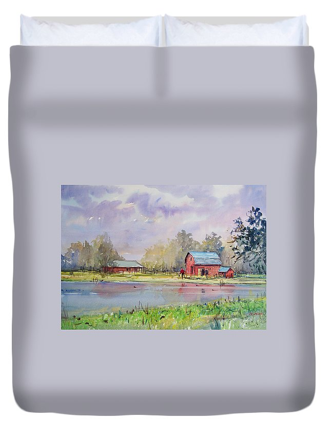 Landscape Duvet Cover featuring the painting View From The Millpond by Ryan Radke