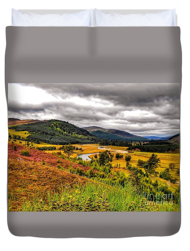 The River Dee Duvet Cover featuring the photograph View From The River Dee by Joan-Violet Stretch