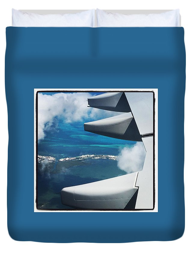 Airplane Photographs Duvet Cover featuring the photograph View From The Sky by Christina McNee-Geiger