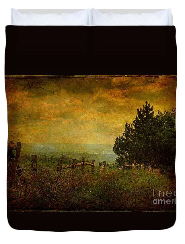 Fence Duvet Cover featuring the photograph View From The Top by Lois Bryan