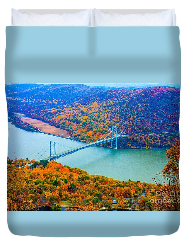 Bear Mountain Park New York Duvet Cover featuring the photograph View From Top Of Bear Mountain Of Bear Mountain Bridge by William Rogers