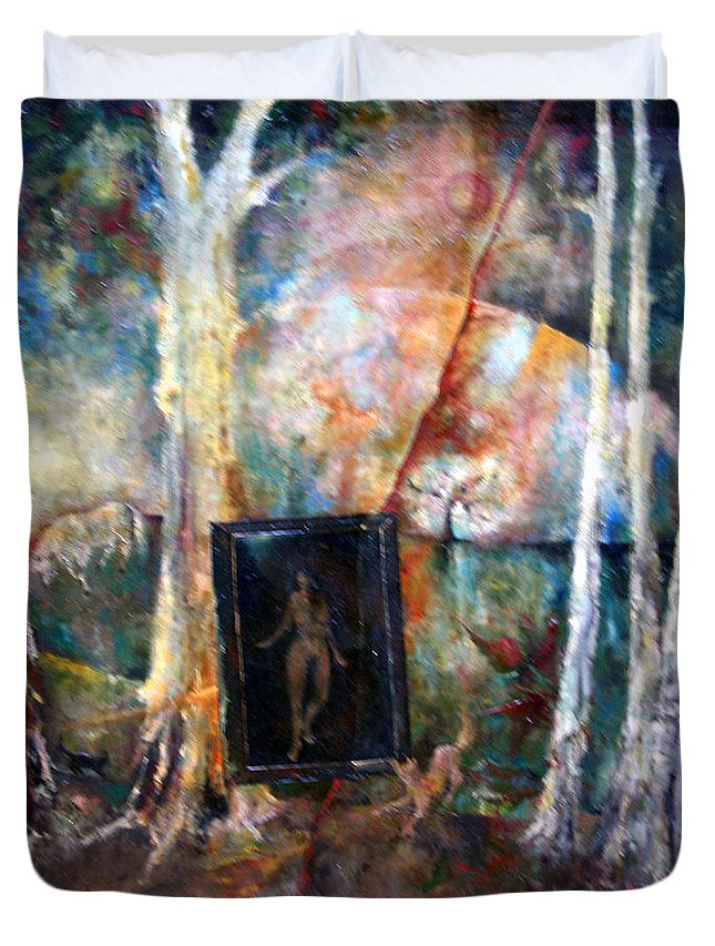 Colour Duvet Cover featuring the painting View From Window by Wojtek Kowalski