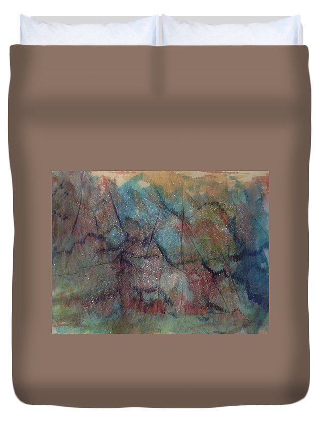 Landscape Duvet Cover featuring the mixed media View by Nadine Cotton