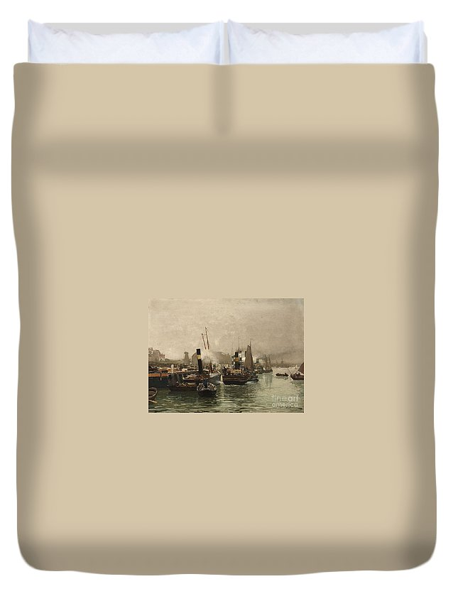 Hans Herrmann Duvet Cover featuring the painting View Of A Dutch Harbour by MotionAge Designs
