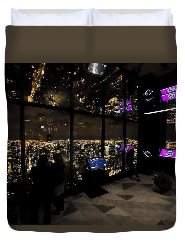 Chicago Duvet Cover featuring the digital art View Of A View - 360 Chicago Hancock Ctr by Daniel Hagerman