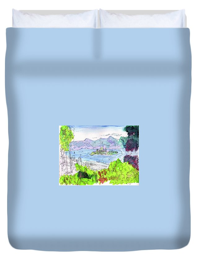 Alcatraz Duvet Cover featuring the painting View Of Alcatraz by Christopher O'Kelley