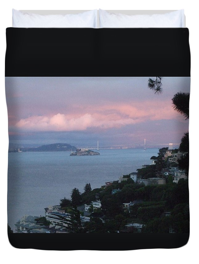 View From San Francisco Bay Duvet Cover featuring the digital art View Of Alcatraz From Our Sausalito Home by Rich Bertolina