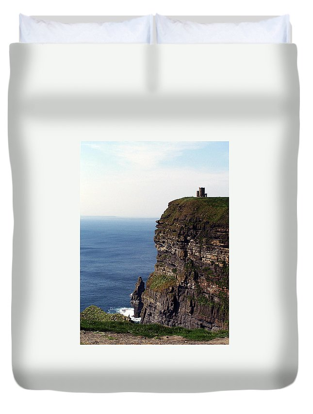 Irish Duvet Cover featuring the photograph View Of Aran Islands And Cliffs Of Moher County Clare Ireland by Teresa Mucha