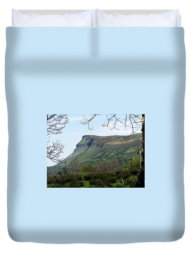 Irish Duvet Cover featuring the photograph View Of Benbulben From Glencar Lake Ireland by Teresa Mucha