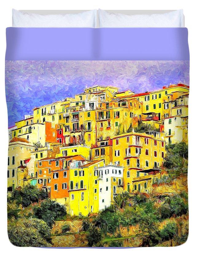 Corniglia Duvet Cover featuring the painting View Of Corniglia - Cinque Terre by Dominic Piperata