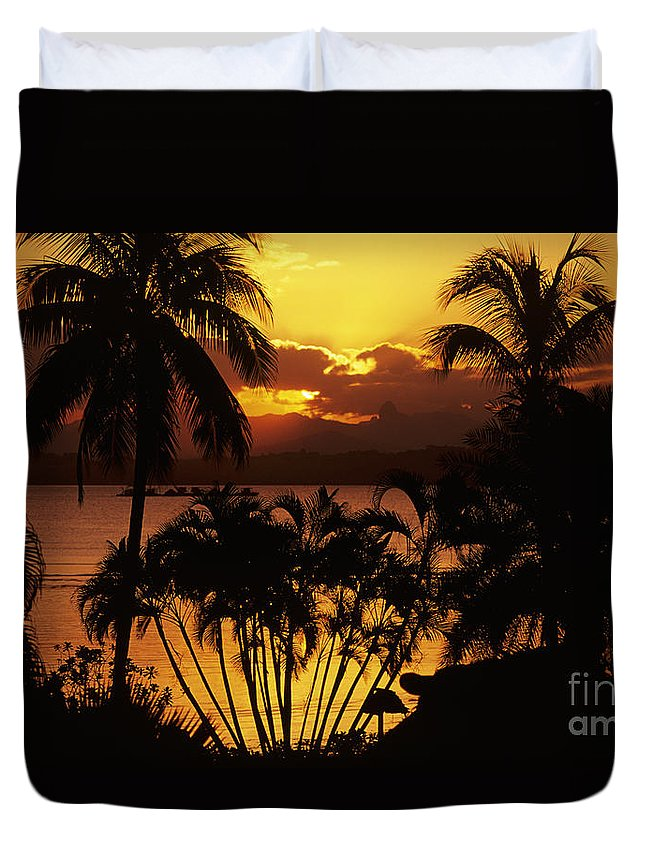 Bay Duvet Cover featuring the photograph View Of Fiji by Larry Dale Gordon - Printscapes
