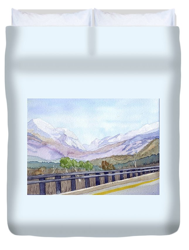 Franconia Notch Duvet Cover featuring the painting View Of Franconia Notch by Sharon E Allen