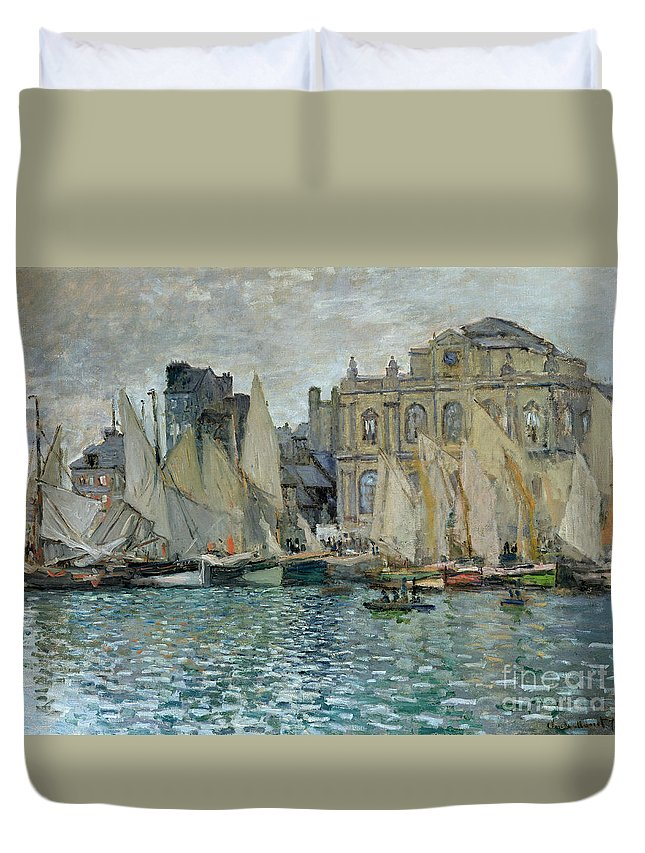 View Of Le Havre Duvet Cover featuring the painting View Of Le Havre by Claude Monet