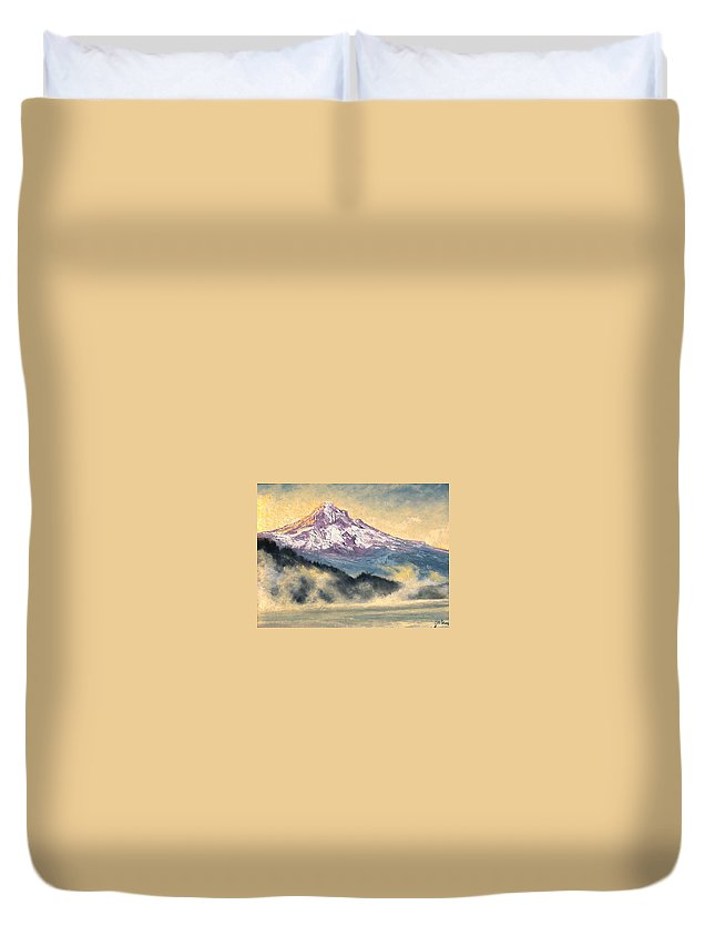 Lanscape Duvet Cover featuring the painting View of Mt Hood by Jim Gola