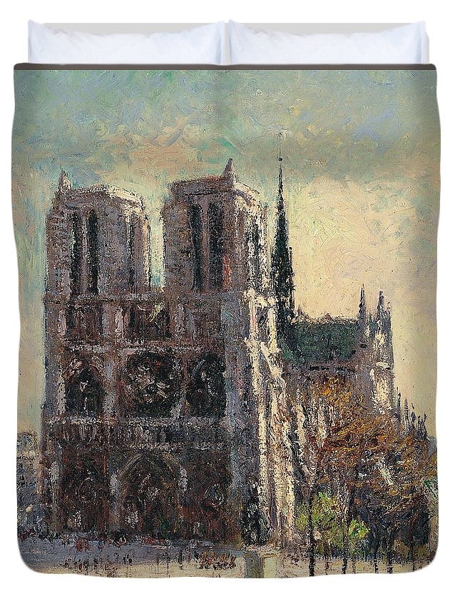 Ancient Duvet Cover featuring the painting View Of Notre by Gustave Loiseau