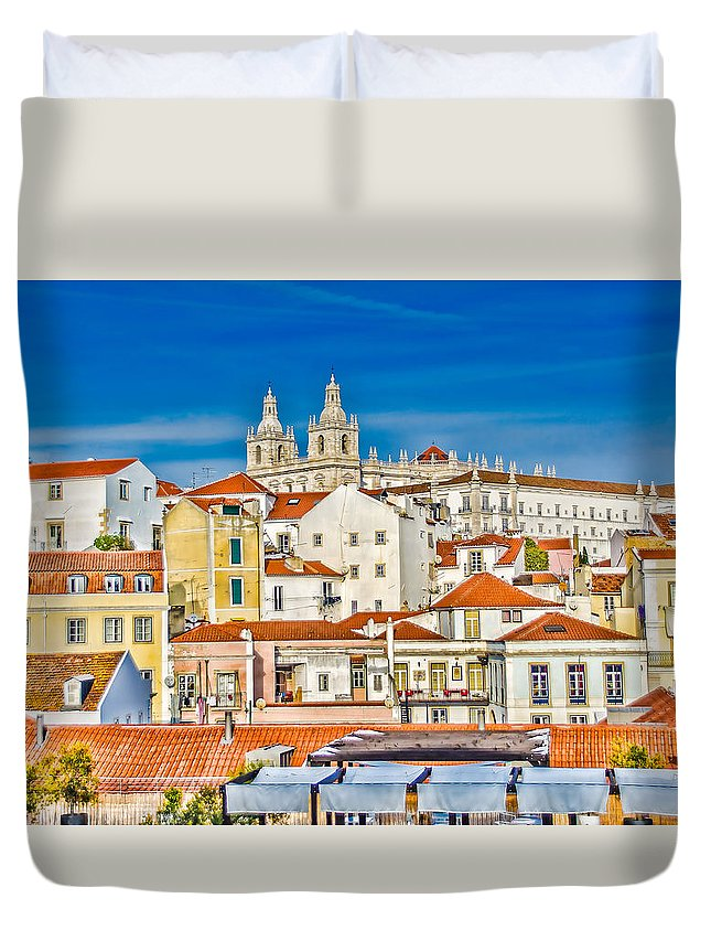 Alfama Duvet Cover featuring the photograph View Of Old Alfama by Julie Palencia