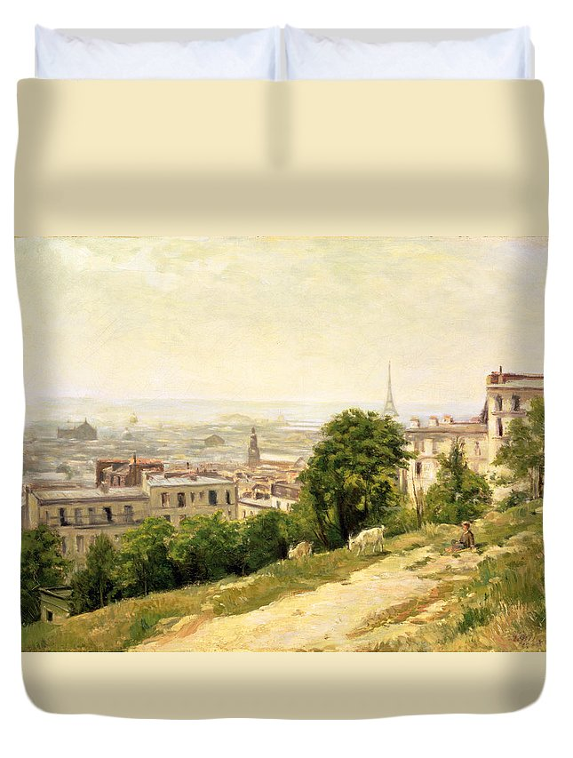 View Duvet Cover featuring the painting View Of Paris by Stanislas Victor Edouard Lepine