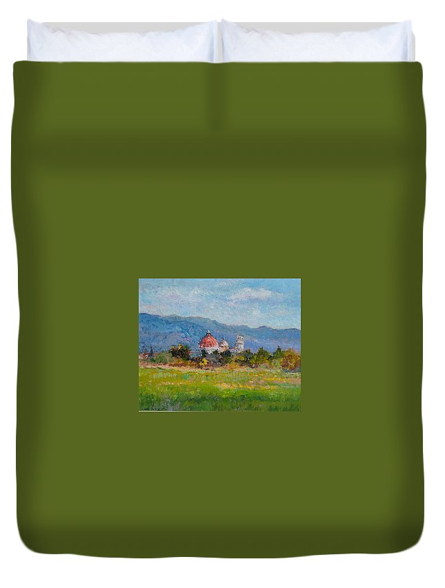 Painting Duvet Cover featuring the painting View Of Pisa From Countryside by Biagio Chiesi