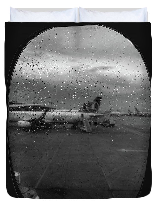 Abstract Duvet Cover featuring the photograph View Of The Aircraft Through The Window With Raindrops by Alexandre Rotenberg